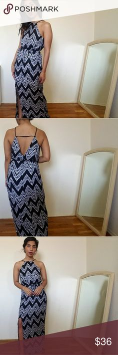 new| CHEVRON PRINT BLACK WHITE MAXI DRESS This chevron print maxi dress is superb! Features a halter style neckline with black thin straps. Deep v back. Removable string tie at waist. One slit in front that goes upto the knee. Fits TTS. Lined.  100% Polyester  ☞Sizes available: S M l ☞MODELING SIZE MEDIUM   🍃I.G: JMAYORGA91  ❌PRICE FIRM❌ Dresses Maxi