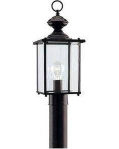 Sea Gull 8257-12 Jamestown 1-Light Black Outdoor Light Post Lantern (Light Fixture Only)