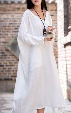 Wealfeel Double Layer Long Sleeve Linen Loose Dress via @bestmaxidress