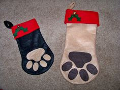 Dog Paw Christmas Stocking  For Your Furry Family Members. $8.00, via Etsy.