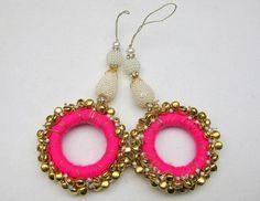 Tassels/ tribal tassels/ banjara tassels/ bell by vibrantscarves Saree Tassels Designs, Saree Kuchu Designs, Embroidery Works, Hand Embroidery Designs, Homemade Jewelry, Diy Jewelry, Diy Earrings, Crochet Earrings, Diy Clothes Design