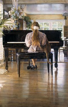 Steve Hanks is recognized as one of the most talented watercolor artists working today. The detail, color and realism of Steve Hanks' paint. Watercolor Artists, Watercolor Paintings, Watercolours, Art Paintings, Piano Art, Piano Music, Photomontage, Oeuvre D'art, American Artists