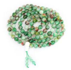 8mm Jade Stone Beads Tibetan Buddhist Prayer Meditation 108 Japa Mala Necklace - Fashion Jewelry