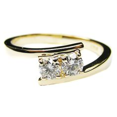 0.40 Carat Yellow Gold Swirl Duo Round Diamond Promise Engagement Ring