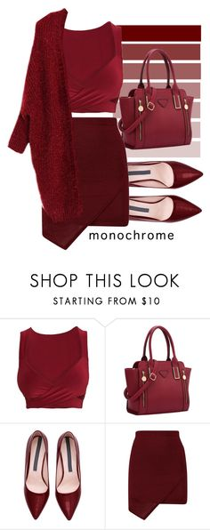 """Monochrome Burgundy"" by my-style-xo ❤ liked on Polyvore featuring monochrome"