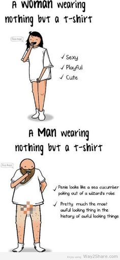 True Shit: A Woman Wearing Nothing Vs A Man Wearing Nothing