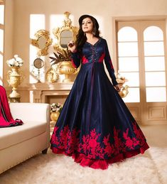 NAVY BLUE AND RED LT NITYA PARTY WEAR ANARKALI GOWN AT COMPLETE THE LOOKZ !!