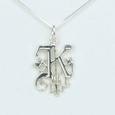 "Solid Sterling Silver Initial Letter "" K "" Necklace - Handcrafted in USA - Monogram initial My Name Jewelry   Birthday Wedding New Name Gift by LucinaK on Etsy"