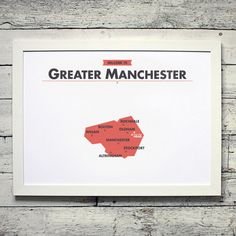 Greater Manchester County Map | # poster, vintage, retro, print