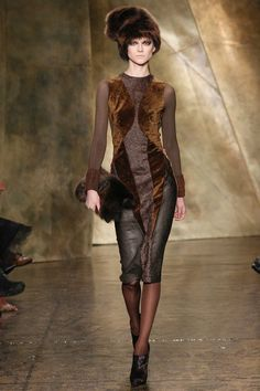Donna Karan Fall 2013 RTW Velvet Leather Combo Dress