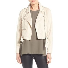 Women's Missguided Crop Faux Suede Moto Jacket ($82) ❤ liked on Polyvore featuring outerwear, jackets, stone, brown biker jacket, motorcycle jacket, cropped moto jacket, brown jacket and faux suede moto jacket
