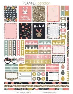 Free Easter Printable Planner Stickers from Planner Addiction: