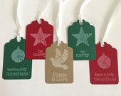 Green and Red Christmas Tags - Holiday Gift Tags - Star Gift Tags - Ornament Gift Tags - Dove Gift Tags - Kraft Christmas Tag - To From Tags