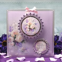 Card made using A Rose Bouquet Luxury Topper Set from the Frosted Florals collection by Hunkydory Crafts http://www.hunkydorycrafts.co.uk/acatalog/A-Rose-Bouquest-Luxury-Topper--Set-FROST907.html#SID=372