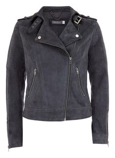 Granite Suede Biker Jacket