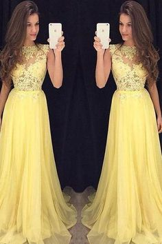 Long Yellow Prom Dresses 2016 Imported Party Dress Lace Top Flowing Chiffon vestidos de festa CS260
