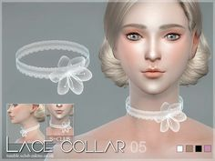 Lace collar for you,4 styles , hope you enjoy with them :3  Found in TSR Category 'Sims 4 Female Necklaces'