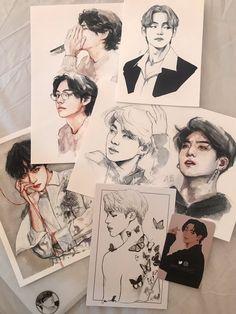 Kpop Drawings, Art Drawings Sketches, Pretty Art, Cute Art, Arte Copic, Anime Boy Sketch, Arte Sketchbook, Kpop Fanart, Art Tutorials