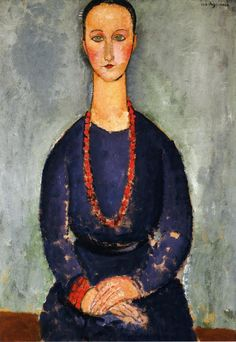 Reproduction with Oil painting effect of painting made by Modigliani Amedeo - Woman With A Red Necklace 1918 Amedeo Modigliani, Modigliani Paintings, Picasso Paintings, Italian Painters, Italian Artist, Red Necklace, Portraits, Edgar Degas, Henri Matisse