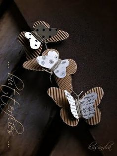 corrugated butterflies and jute wrapped in the middle and tied at the end for the antennas creative paper crafts Diy Paper, Paper Art, Paper Crafts, Diy Crafts, Origami, Butterfly Crafts, Butterfly Mobile, Candy Cards, Scrapbook Embellishments