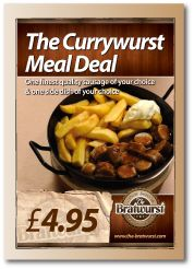 Our best-selling meal deal - currywurst and chips, with an optional dab of mayo. For just £4.95 in the heart of Soho, London. Unbeatable value and great taste. www.the-bratwurst.com