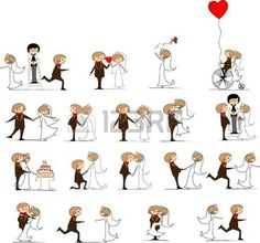 set of wedding pictures, bride and groom in love photo