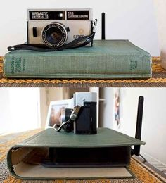 Hide a router with a vintage old book cover.