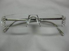 308646771 CLEAR RIMLESS Silver Trim Single Vision Reading Glasses w 20 Rhinestones 2  00