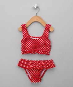 UV Protective Red Polka Dot Bikini - Infant from Playshoes Swim - up to 50% off on #zulily.co.uk