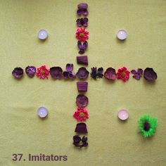 Level 37 made out of dried #flowers and #candles.  Download #syncomania for free at Google Play.  #androidgames #indiedev #googleplay