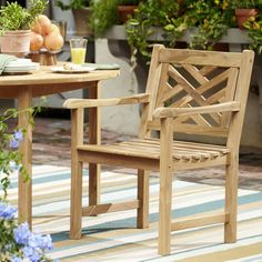 Birch Lane Summerton Teak Wood Lattice Back Dining Chair | With its durable construction and variegated mocha color, the Summerton dining chair captures the organic beauty of teak wood. Weatherproof and maintenance-free, it can also be left outside to weather to a pleasant grey. If desired teak oil can be applied to keep the original dark brown coloring.
