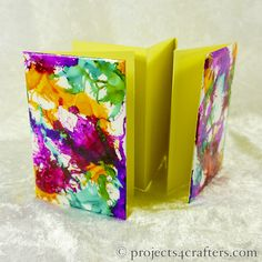 Mini concertina book: Enamel two rectangles using low melt Efcolor powders and Alcohol Inks. When cool stick a long piece of folded (concertina style) card.