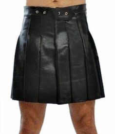 Box Pleated Leather Kilt For Men