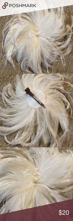 Ivory feather hair piece Retro feather hair piece with clip.  Ivory in color Accessories Hair Accessories