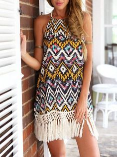 #Fashion  Summer Style : Dreess,Tassels Dress