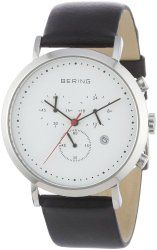 BERING Time Men's Classic Collection Watch with Leather Band and scratch resistant sapphire crystal. Designed in Denmark. 10540-404