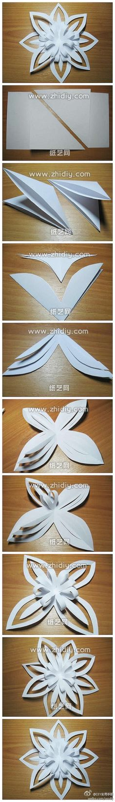 Origami Paper snowflakes tutorial are a great paper craft to try out for Christmas. Who doesn't love making Christmas decorations? Now you can learn how to make snowflakes that are different than your typical ones every year. Holiday Crafts, Fun Crafts, Diy And Crafts, Christmas Crafts, Crafts For Kids, Arts And Crafts, Christmas Decorations, Xmas, Christmas Paper