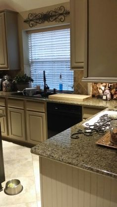 Tan Painted Cabinets With Granite Tops And Subway Tile Design Pinterest Paint Tiles