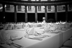 Wedding table all set out, at Buxton Dome, Derbyshire. Photographed by Jinx Photography. www.JinxPhotography.co.uk