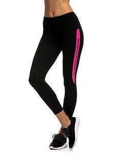 JIMMY DESIGN Damen Leggings für Fitness, Workout und Yoga - Schwarz/Printed Wörter in Rosa -XL - http://on-line-kaufen.de/jimmy-design/42-44-taille-76-81cm-jimmy-design-damen-leggings-s-m-13