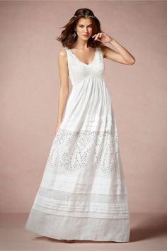 this needs to not be a wedding dress so I can wear it regularly in the summer! Lace and Ramie Gown in Bride Wedding Dresses at BHLDN Belle Wedding Dresses, Bhldn Wedding Dress, Vintage Inspired Wedding Dresses, Bridal Dresses, Wedding Gowns, Boho Wedding, Bhldn Dresses, Casual Wedding, Trendy Wedding