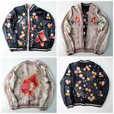 Japanese Kingyo Goldfish Sakura Cherry Blossoms Flower Sukajan Skajan EMBROIDERY Souvenir Jacket - Japan Lover Me Store