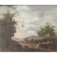 Early Nineteenth Century Landscape of Two figures and a Dog by a Cottage. Early Nineteenth Century Landscape of Two figures and a Dog by a Cottage. 7.5 x 8.5 ins., 19 x 22.5 cms.), Oil on Panel,. This is a quality painting of an atmospheric evening scene in rural England.