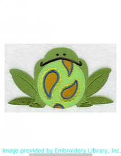 Stickmotiv Stickbild Aufnäher Stickerei Emblem Frosch  Frosch /  Stickerei Paisley Frog (E4588)