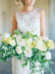 #peony, #rose, #yellow  Photography: Sally Pinera - sallypinera.com Floral Design: Plenty Of Petals - www.plentyofpetals.com/ Wedding Gown: Claire Pettibone - www.clairepettibone.com/