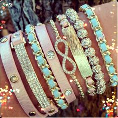cute stacked bracelets
