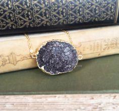 Black Druzy Gold Necklace Onyx Black Gray Geode Quartz Crystal Stone Drusy Gemstone Layering Long Raw Rustic Modern Statement Natural C1 by Jewelsalem