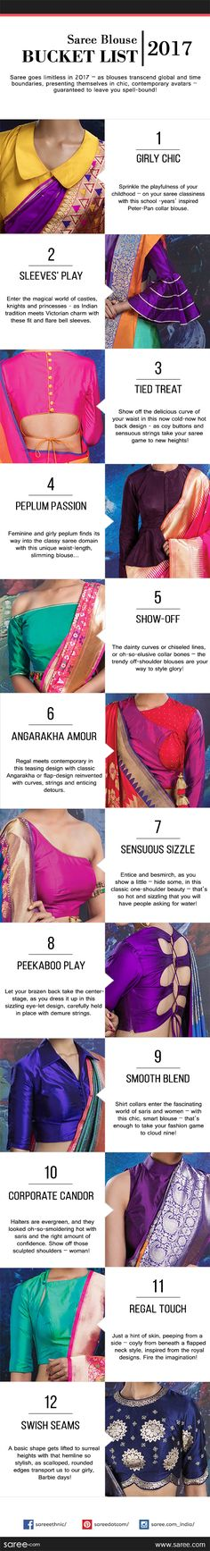 Blouses can make or break your sari look. Do add these trendy saree blouse designs and patterns to your bucket list for India's most loved attire - Saree Saree Blouse Patterns, Sari Blouse, Saree Blouse Designs, Dress Designs, Modern Blouse Designs, Indian Blouse, Indian Sarees, Indian Wear, Indian Attire