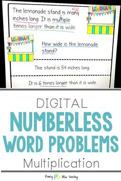 Yay! Digital, NO PREP numberless word problems that are perfect for third grade! This set of math activities includes all types of multiplication word problems with single-digits. The numbers are taken away temporarily to focus attention on the problem and what needs to be solved. Grab your set today! #thirdgrademath #numberlesswordprobelms #multiplicationsingledigits First Grade Lessons, Math Lessons, Math Fact Practice, Math Fact Fluency, Number Talks, Math Lesson Plans, Math Words, Math Strategies, Math Word Problems