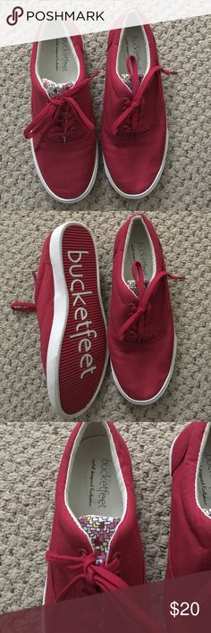 Red Bucketfeet sneakers Barely worn red Bucketfeet sneakers with patterned tongue Bucket Feet Shoes Sneakers